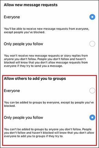 اضافه شدن ناخواسته به گروه در اینستاگرام