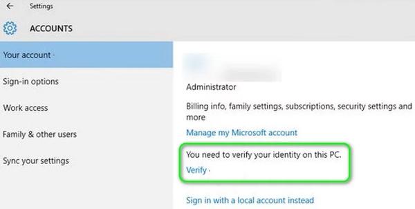 Verify کردن اکانت مایکروسافت برای رفع ارور we couldn't find a fingerprint