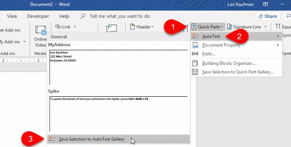 آموزش و تنظیم قابلیت تایپ خودکار متن (AutoText) در ورد