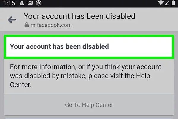آموزش حل مشکل Your account has been disabled فیسبوک