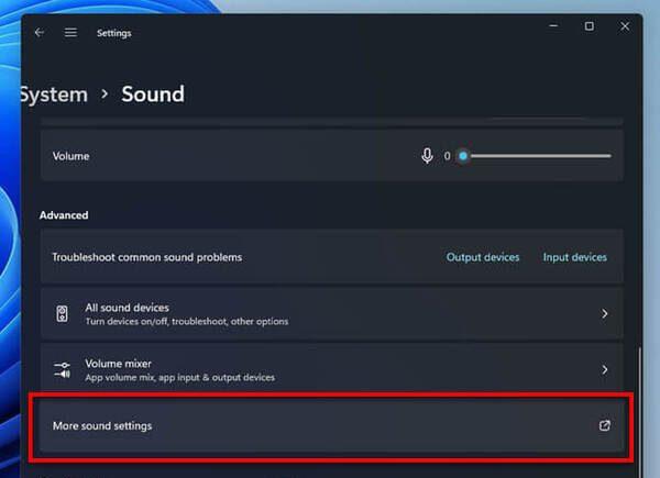 باز کردن تنظیم صدای کامپیوتر ویندوز 11