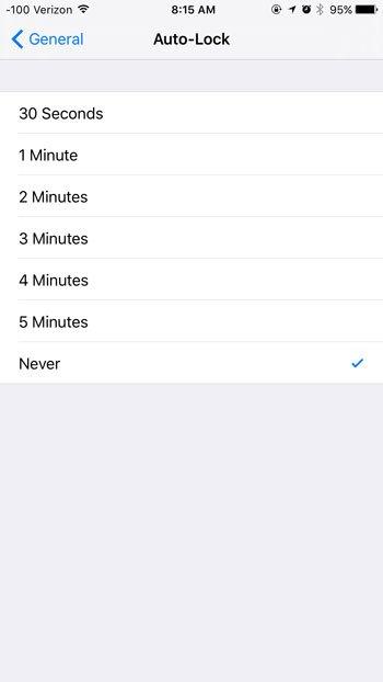 افزایش زمان روشن ماندن صفحه گوشی آیفون