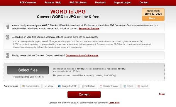 تبدیل ورد به عکس آنلاین با سرویس Online2pdf